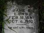 Gravestone: Jane E Long (Rigsby)